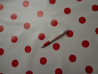 Viaszos vászon, fehér alapon piros nagy pöttyös (4471)