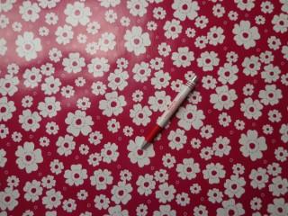 Viaszos vászon, bordó alapon fehér virág (4473)