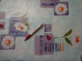 Viaszos vászon, világoskék alapon margarétás, katicás (4478)