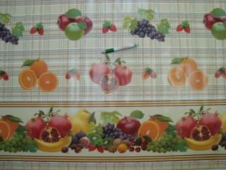 Viaszos vászon, kockás alapon gyümölcsös, bordűrös oldalakkal (4480)