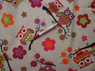 Loneta, pink-barna baglyos kerti bútor vászon (3553-1)