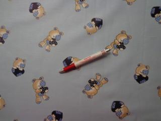 Gyerekmintás vászon, kék alapon macis (4767)