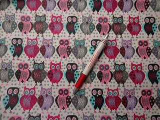 Mintás karton, szürke-lila-pink baglyos (5088)