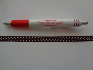 Sötétbarna alapon fehér pöttyös szaténszalag, 1 cm széles (5218)