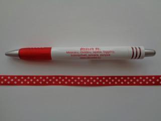 Piros alapon fehér pöttyös szaténszalag, 1 cm széles (5222)