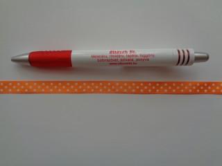 Narancssárga alapon fehér pöttyös szaténszalag, 1 cm széles (5225)