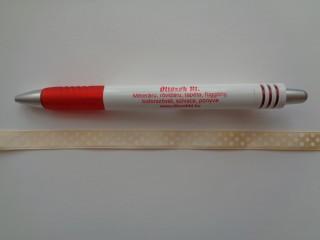 Halványsárga alapon fehér pöttyös szaténszalag, 1 cm széles (5226)