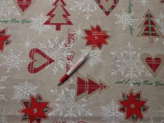 Loneta, karácsonyi vászon, drapp alapon fenyős, szíves, csillagos (5228)