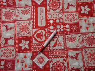 Loneta, karácsonyi vászon, piros, rénszarvasos (5229)