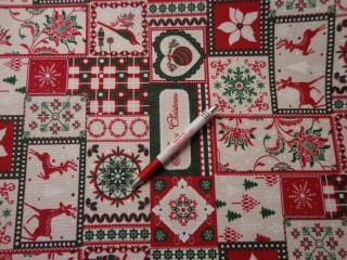 Loneta, karácsonyi vászon, zöld-piros, rénszarvasos (5230)