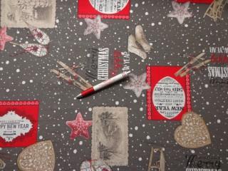 Loneta, karácsonyi vászon, szürke alapon szánkó, korcsolya, sítalpak (5231)