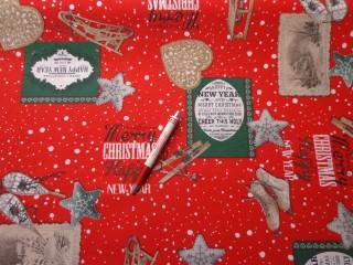 Loneta, karácsonyi vászon, piros alapon szánkó, korcsolya, sítalpak (5232)