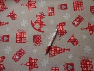 Loneta, karácsonyi vászon, drapp alapon piros mintás (5236)