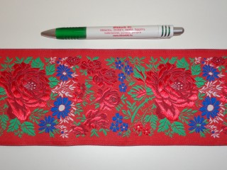 10 cm széles hímzett szalag, piros (5482)