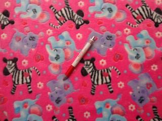 Babysoft, rózsaszín alapon zebra-viziló-elefánt (5599)