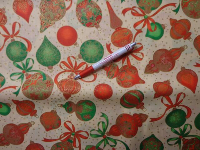 Karácsonyi karton, piros-zöld-arany karácsonyfa díszek (5838)