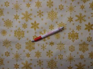Karácsonyi karton, ekrü alapon arany hópihés (5841)