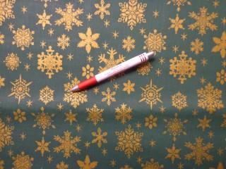 Karácsonyi karton, zöld alapon arany hópihés (5843)