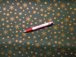 Karácsonyi karton, zöld alapon arany csillagos-hópihés (5846)