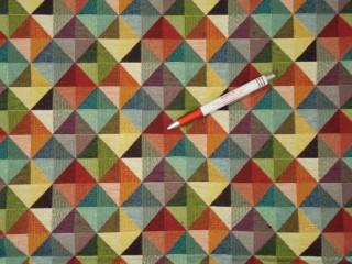 Jacquard szövet, nagyobb színes háromszög mintákkal (5860)