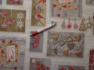 Loneta, karácsonyi vászon, szívecskés (6021)