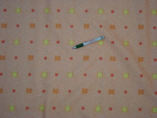 Teflonos asztalterítő anyag, narancs alapon színes kockás (6047-1)