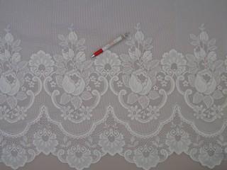 Fehér, magában virág mintás jacquard függöny, 275 cm magas (6143)