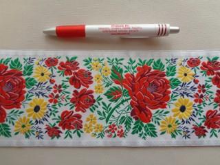 10 cm széles hímzett szalag, fehér - sárga virágokkal  (7184)