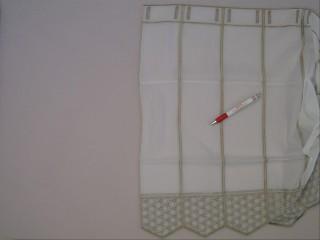 Fehér alapon barna mintás voile vitrázsfüggöny, 60 cm magas (7222)