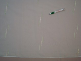 Fehér alapon zöld-arany mintás voile függöny, 180 cm magas (7328)