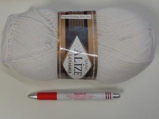Alize Lanagold kötőfonal, fehér (7382)