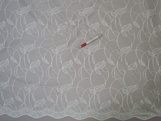 Fehér, levél mintás, jacquard függöny, 180 cm magas (7444)