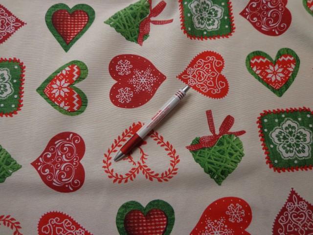Loneta, karácsonyi vászon, ekrü alapon piros és zöld szíves (7464)
