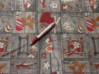 Loneta, karácsonyi vászon, szürke alapon szíves (7467)