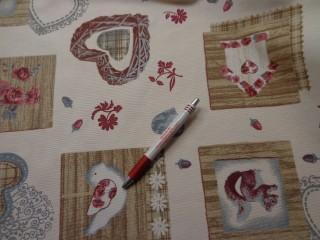 Loneta, karácsonyi vászon, ekrü alapon, mókus és madár (7468)