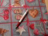 Loneta, karácsonyi vászon, szürke alapon piros kockás, mintás (7469)