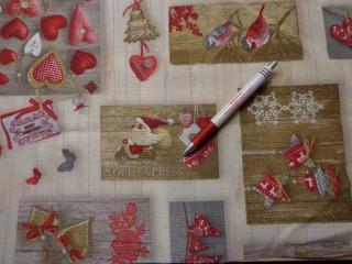 Loneta, karácsonyi vászon, drapp alapon mikulásos, madaras, csillagos, (7471)