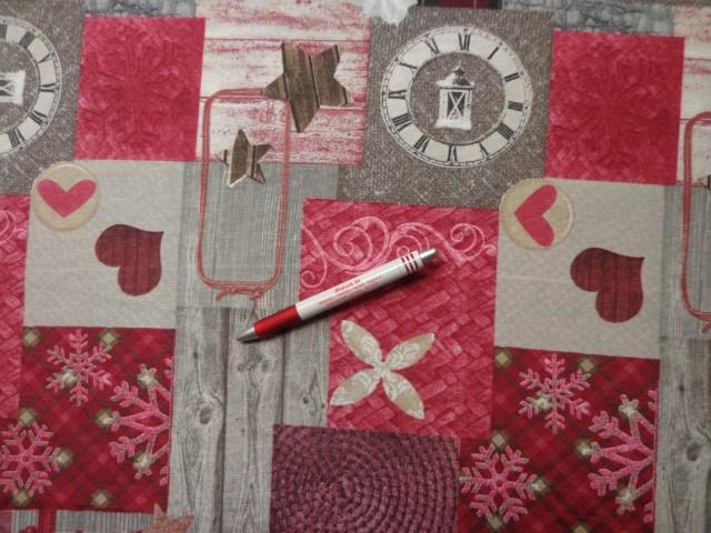 Loneta, karácsonyi vászon, bordó szíves, kockás, hópelyhes (7474)