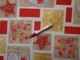 Loneta, karácsonyi vászon, piros csillagos, szíves (7475)