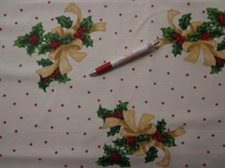 Loneta, karácsonyi vászon, masnis, magyalos, csillagos (7476)