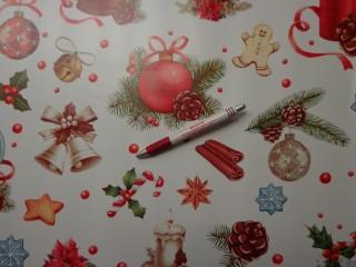 Viaszos vászon, karácsonyi, haranggal, fenyődísszel (7500)