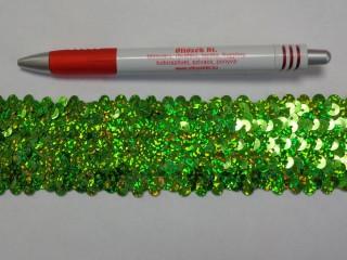 Elasztikus többsoros flitter szalag, zöld, hologramos (7626)