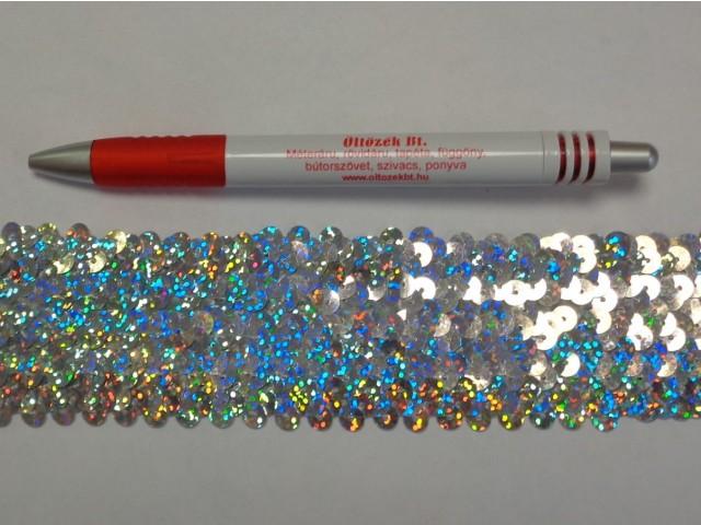 Elasztikus többsoros flitter szalag, ezüst, hologramos (7627)