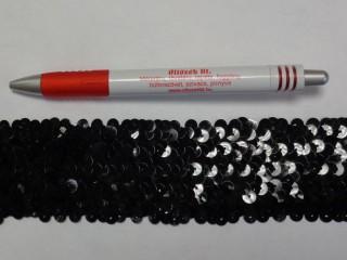 Elasztikus többsoros flitter szalag, fekete (7628)