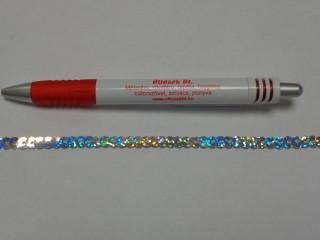 Egysoros flitter szalag, ezüst, hologramos (7630)