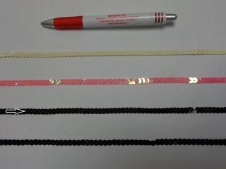 Egysoros flitter szalag, fekete (7637)