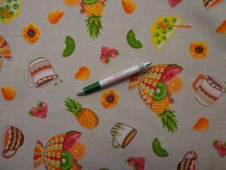 Loneta, gyümölcsös-bögrés kerti bútor vászon (7737)