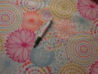 Loneta, kék-pink retro mintás kerti bútor vászon (7744)