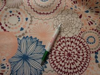 Loneta, bordó-kék-barack retro mintás kerti bútor vászon (7745)