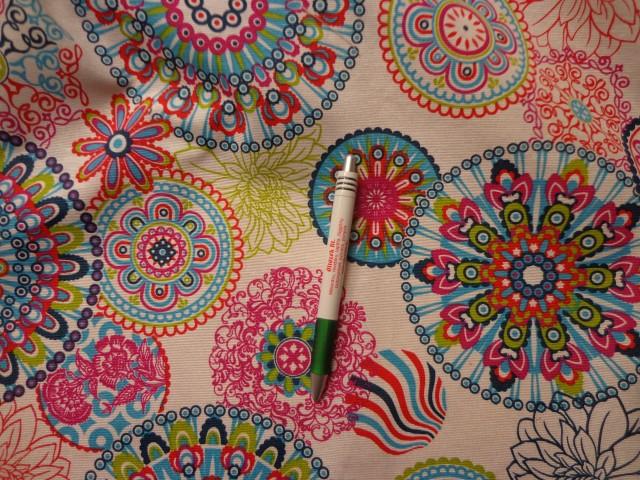 Loneta, türkiz-kiwi-pink retro mintás kerti bútor vászon (7749)